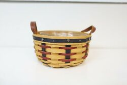 Longaberger Warm Brown Proudly American Button Basket Combo W/liner And Protector