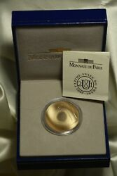 2001 1 Franc French Gold Wave Coin, Original Ogp. .63oz Pure Gold.