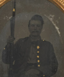 Cased Ambrotype Of Gilded Civil War Soldier W/ Percussion Musket