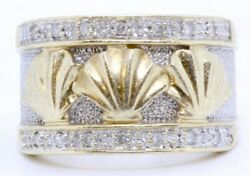 14k Solid 2-tone Yellow And White Gold Diamond Clam Shell Seashell Ring Band Sz 7