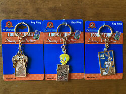 New Moc 1997 Usps Looney Tunes Stamp Collection Lot Taz Tweety Bugs Key Rings