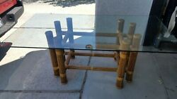 Mcguire Bamboo And Leather Strapping Table Base 28x46x29.5h With Glass 75x40