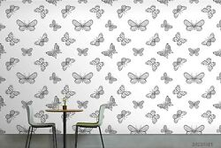 3d Animal Grey Butterfly Self-adhesive Removable Wallpaper Murals Wall 12