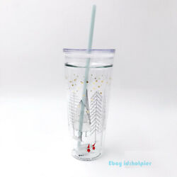 Rare Out Of Print Elfin Double Glass Straw Cup Plastic Lid Starbucks 20oz Rarity