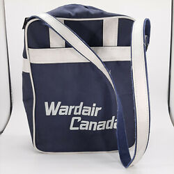 Vintage Wardair Canadian Airline Tote Bag Shoulder Strap Navy And White Carry On