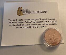 Official 2014 Dogecoin Physical Copper Edition Shibe Mint Much Wow Doge Coin