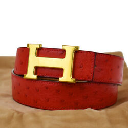 Auth Hermes Constance Reversible H Buckle Belt Ostrich Leather 75 Red 76mg941