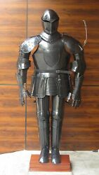 Medieval Closed Knight Armour Helmet W/ Full Body Suit Halloween Armour Costume