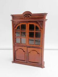 Vintage Dollhouse Miniature Wooden Display Cabinet Mirrored Furniture 1:12 Scale