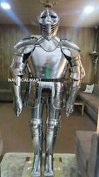 Ancient Knight Closed Helmet Medieval Full Body Armor Suit Silver Finish Costume