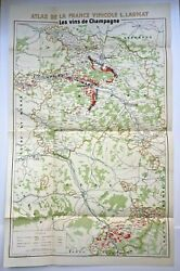 Wine Map Champagne France 1944 Limited Edition Very Large Antique On Luxe Paper