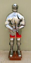 Wearable Full Body Armour Suit Medieval Knight Closed Helmet Halloween Costume