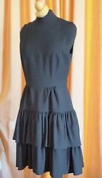 AUTHENTIC CLASSIC DAY EVENING BLACK DICE KAYEK RUFFLE TIERED LAYER DRESS SZ 38 $89.00