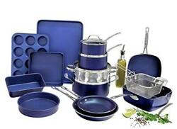 Granitestone Blue 20 Piece Pots And Pans Set Complete Cookware And Bakeware Set