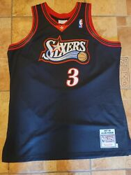 Nba Adult Xl 48 1997-1998 Allen Iverson Sixers 3 Jersey Black Mitchell And Ness