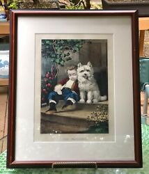 Currier And Ives Framed Lithograph The Watchers Little Boy With Westie