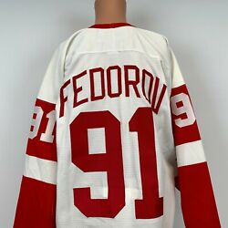 Nike Authentic Sergei Fedorov Detroit Red Wings Jersey Vtg 90s Nhl Sewn Size 48