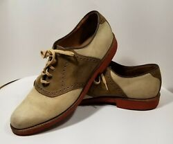 Walk Over Men#x27;s Saddle Shoes Suede Leather Tan Size 11.5 Narrow B AA $27.97