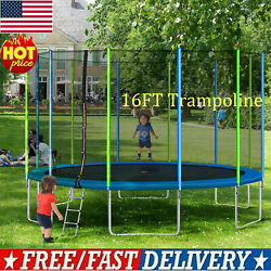 16ft Premium Trampoline With Enclosure Safety Net Adult Kid Outdoors Trampoline