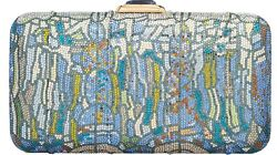 Judith Leiber Evening Bag Stained Glass Green Blue White Gold Vintage