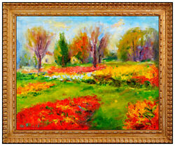 Michael Sileikis Oil Painting On Canvas Board Signed Floral Landscape Artwork