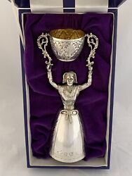Large Solid Silver Marriage Cup Wager Cup 1979 Sheffield 20cm 368 Grams Sterling