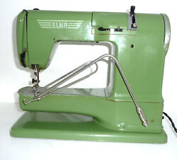 Vintage Green Elna Supermatic Free Arm Sewing Machine Patter Cams Zig Zag Case