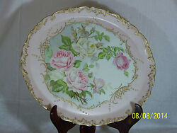 T And V-tresseman And Vogt Antique C1890and039s French Limoges Large Charger-signed Sm