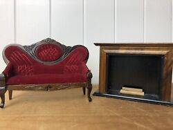 Vintage Victorian Furniture Sofa Couch Fireplace Dollhouse Miniature 112