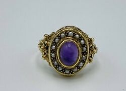 Size 7.75 Antique Late Georgian 8k Gold Amethyst And Seed Pearl Ring
