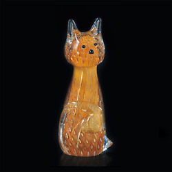 Cat In Murano Glass Original With Bubbles And Gold Made Andigraven Italy Made By Hand