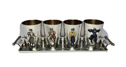 Antique Enameled Silver Women On Bicycles Liquor Whiskey Cups Set Tray French