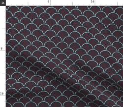 Scallop Red Cream Ink Black Navy Scales Ikat Spoonflower Fabric By The Yard