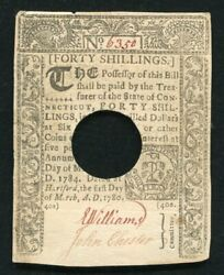 Ct-225 March 1 1780 40s Fourty Shillings Connecticut Colonial Currency Noteandnbsp