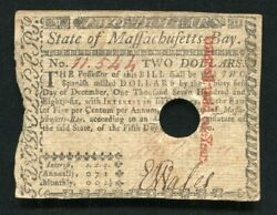Ma-279 May 5 1780 2 Two Dollars Massachusetts Colonial Currency Noteandnbsp