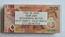 Sealed Block Of 100x 2007 Papua New Guinea 20 Kina Polymer Banknote P31a - Unc.