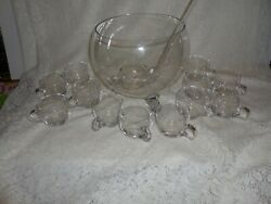 Lead Crystal 3-toed Globe Punch Bowl Set -h 12 Cups And Glass Ladle