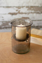 Kalalou Cv1022a Mini Smoked Glass Candle Cylinders With Rustic Insert