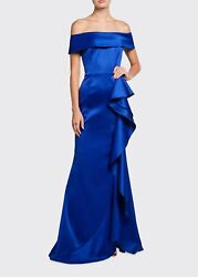 Nwt Rickie Freeman For Teri Jon Off-shoulder Satin Gown In Royal Blue 14 760