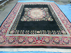9and039 X 12and039 Decorative Chinese Aubusson Hand Knotted Pile Wool Rug Black Nice