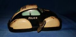 Old Vintage Small Size Tin Winding Police Car From Japan 1960