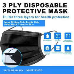 [black] 3-ply Face Mask Disposable Non Medical Surgical Earloop Mouth Cover