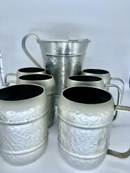 Vintage Gailstyn Hammered Aluminum Pitcher 2 Quart Ice Lip And 6 Tumblers