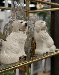 Rare Pair of Vintage Japan Staffordshire White King Charles Spaniel Mantle Dogs