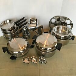 Vintage Amway Queen 18/8 Stainless Multi Ply Cookware/salad Master Shredder 35pc