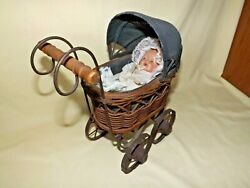 Vtg Wicker/metal Baby Doll Buggy Stroller Carriage Victorian W/ 7porcelain Doll