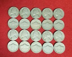 1939-s Jefferson Nickels Partial Roll 20 Coins Average Circulated Condition