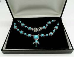 Solid Silver And Turquoise Heavy Quality Bib Necklace Vintage Ethnic Jewellery