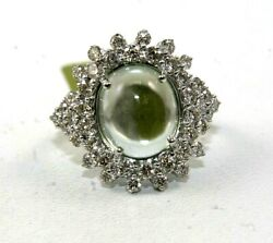 Natural Oval Green Amethyst And Diamond Halo Solitaire Ring 18k White Gold 6.95ct