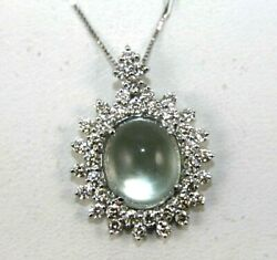 Natural Oval Green Amethyst And Diamond Halo Ladyand039s Pendant 18k White Gold 6.60ct